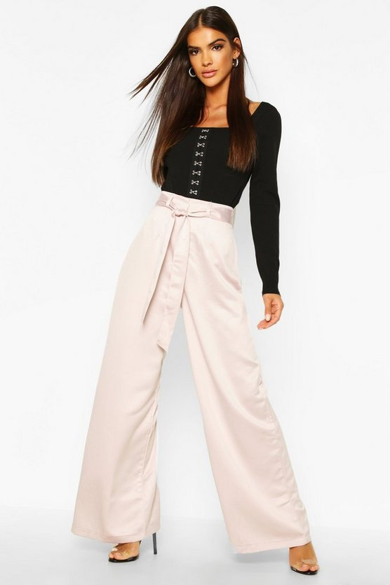 Womens Mink Tie Waist Woven Satin Wide Leg Trouser
