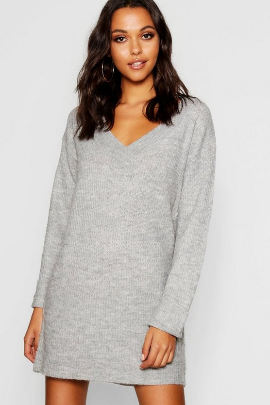 Womens Grey V Neck Loose Fit Dress