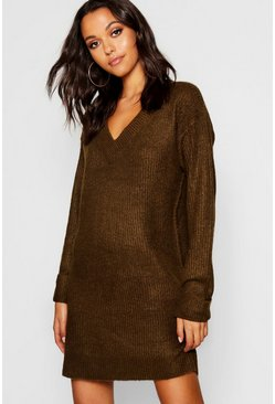 Womens Olive V Neck Loose Fit Dress