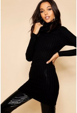 Womens Black Long Line Ribbed Tunic With Roll Neck