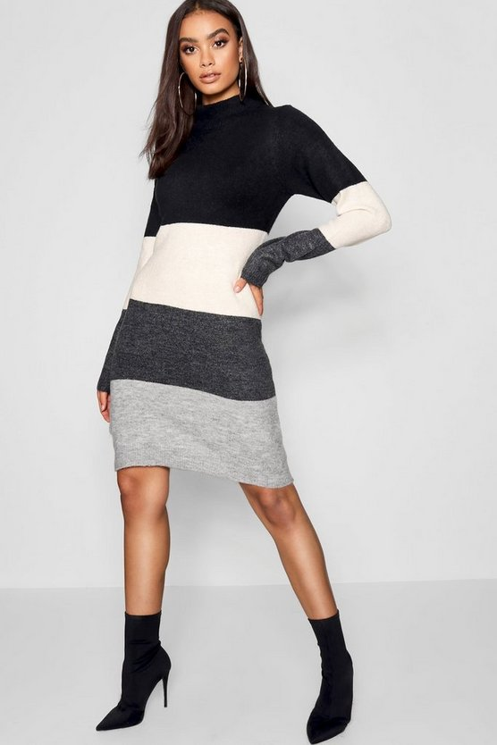 Womens Grey Funnel Neck Colour Block Dress