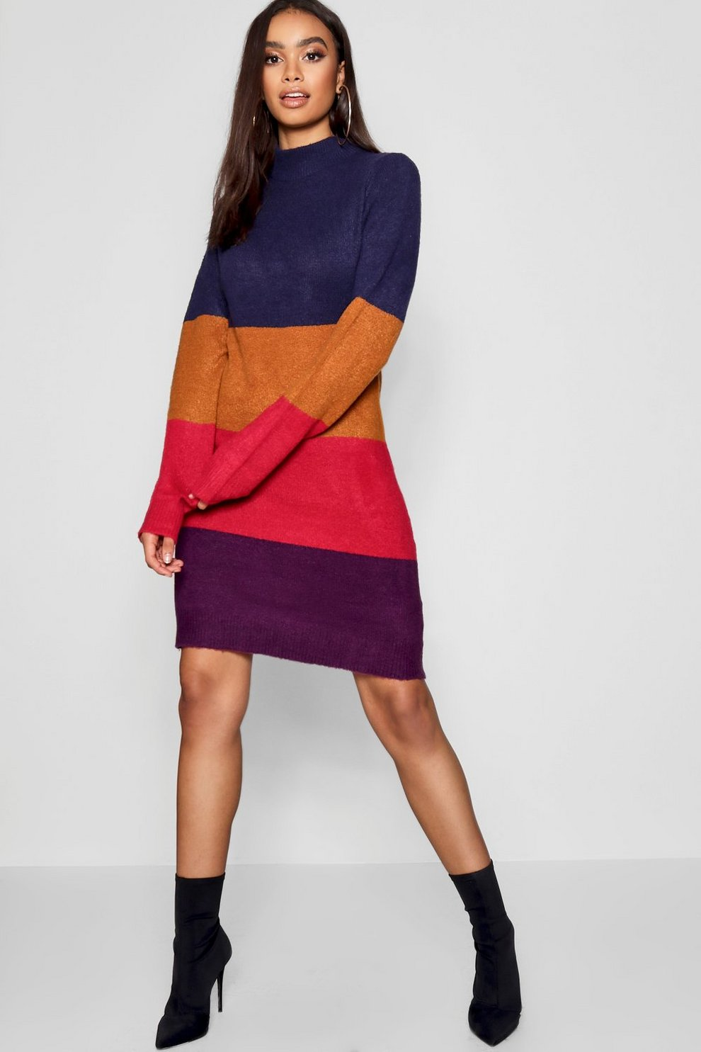 Funnel Neck Colour Block Dress