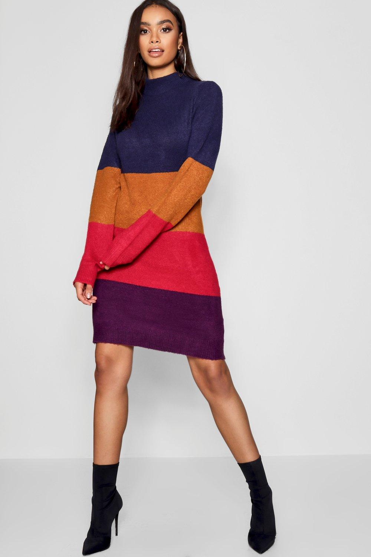 de colores Vestido con de liso franjas alzado cuello morado EqqB4n6
