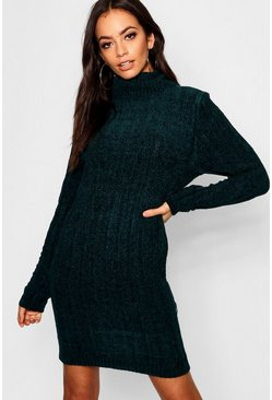 Womens Green Ribbed Roll Neck Jumper Dress