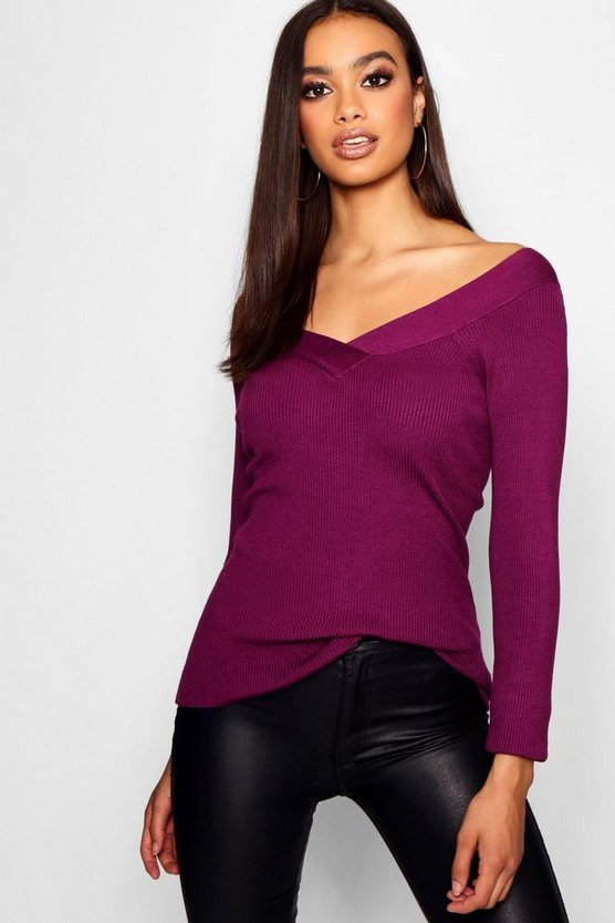 Skinny Rib Top With V Front And Back Neckline