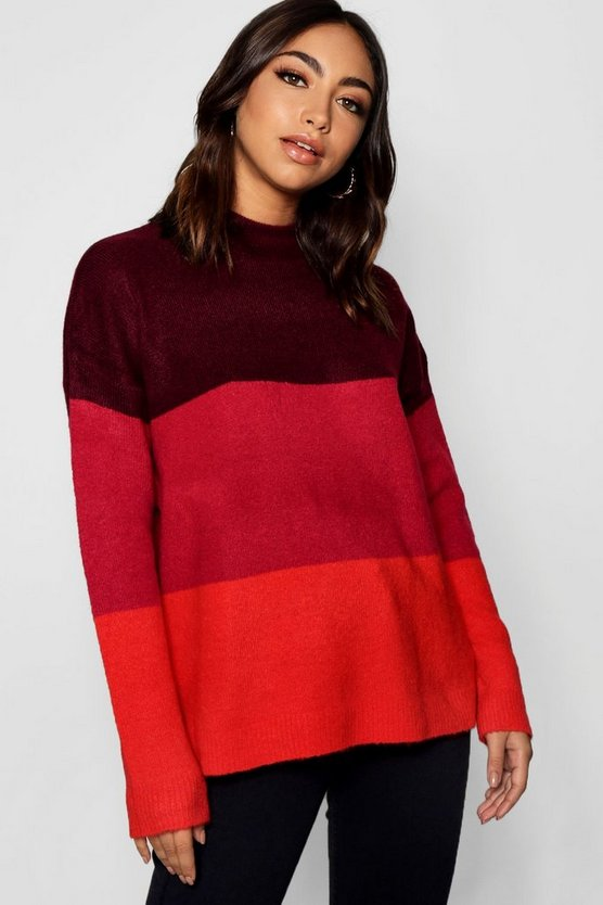 Colour Block Jumper With Funnel Neck
