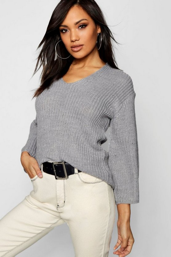 Womens Grey V Neck Half Cardigan Knit Jumper