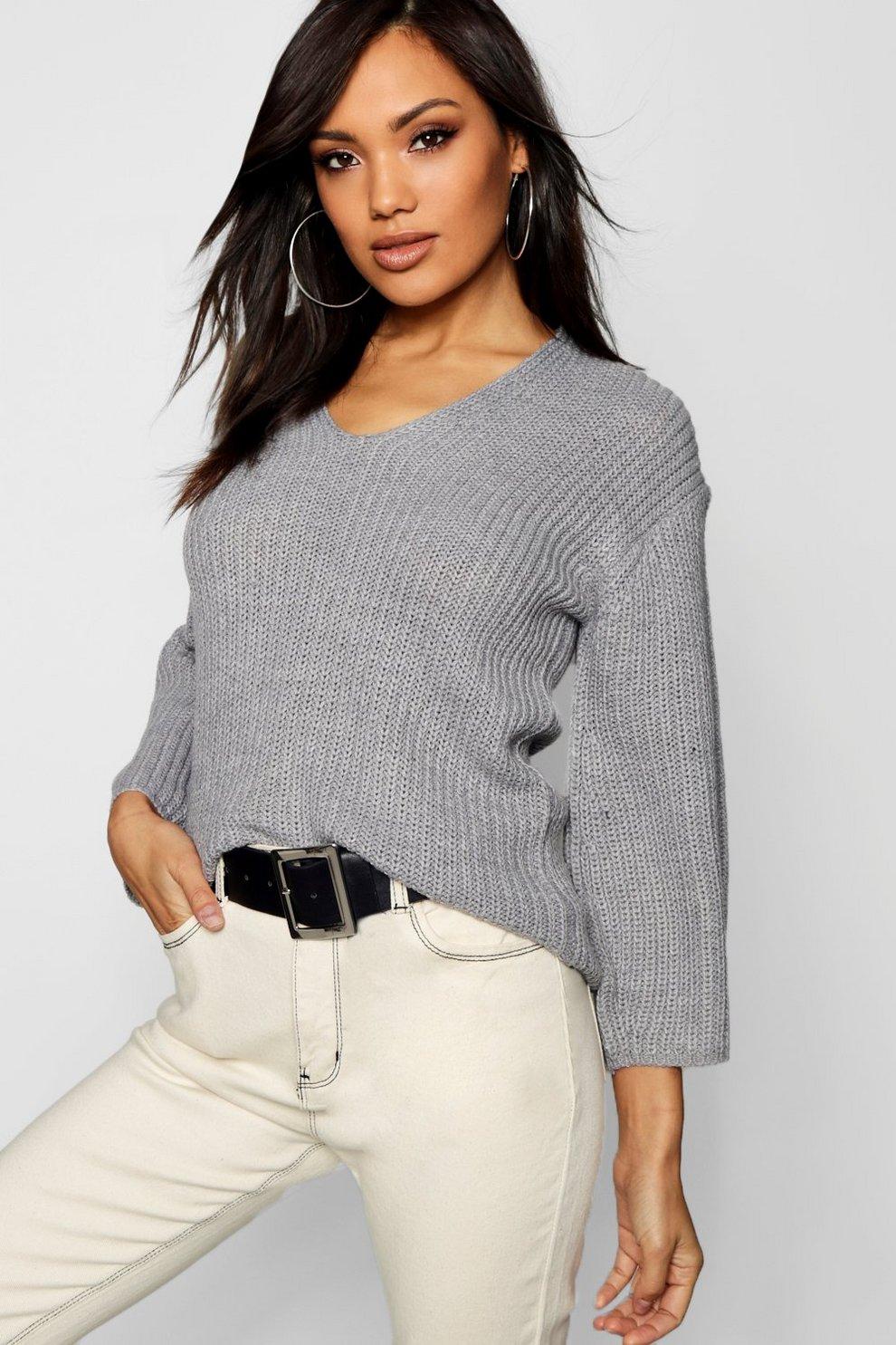 вязаный свитер кардиган с V образным вырезом Boohoo