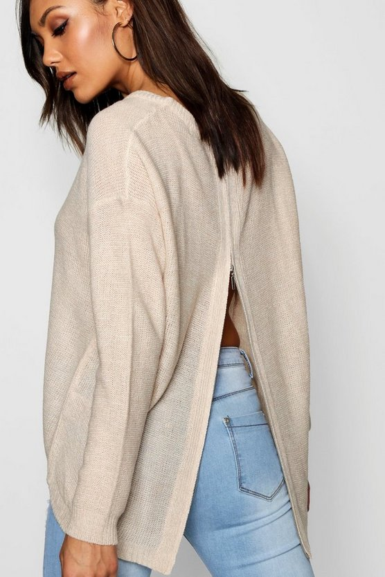 Long Sleeve Jumper With Zip Back Detail