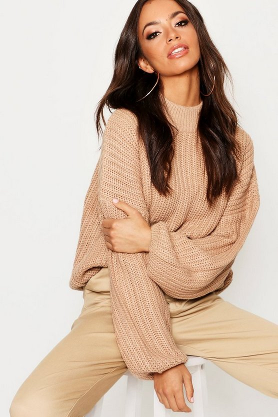 Womens Camel Oversized Bell Sleeve Jumper