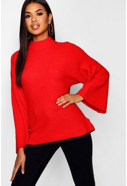 Womens Red Oversized Jumper With Funnel Neck