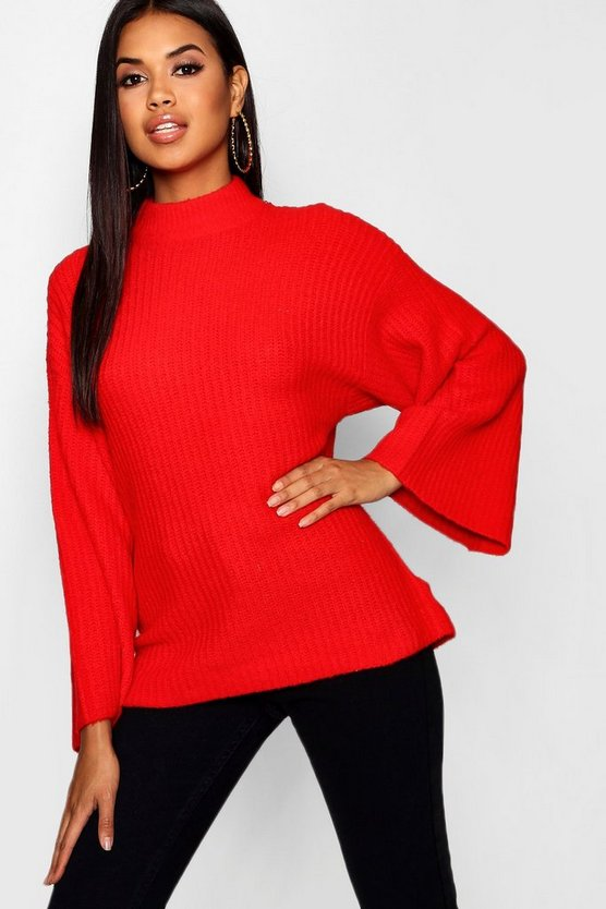 Womens Red Oversized Sweater With Funnel Neck