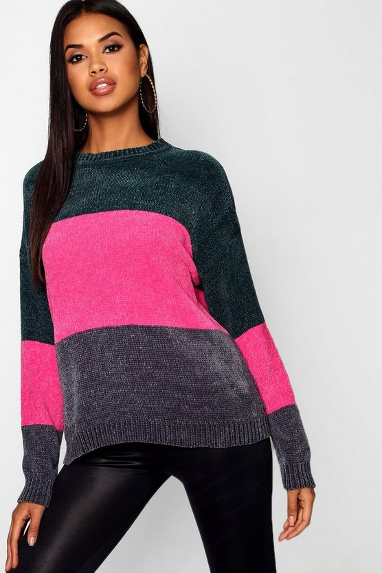 Womens Green Chenille Colour Block Stripe Jumper
