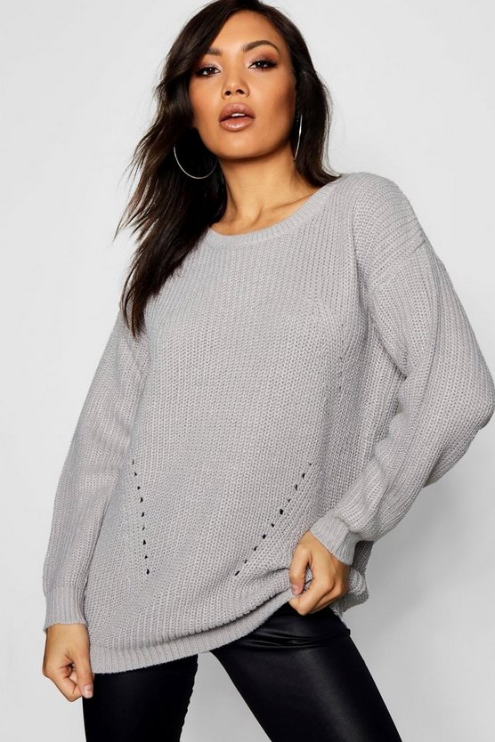 Womens Grey Chunky Jumper With Rib Transfers