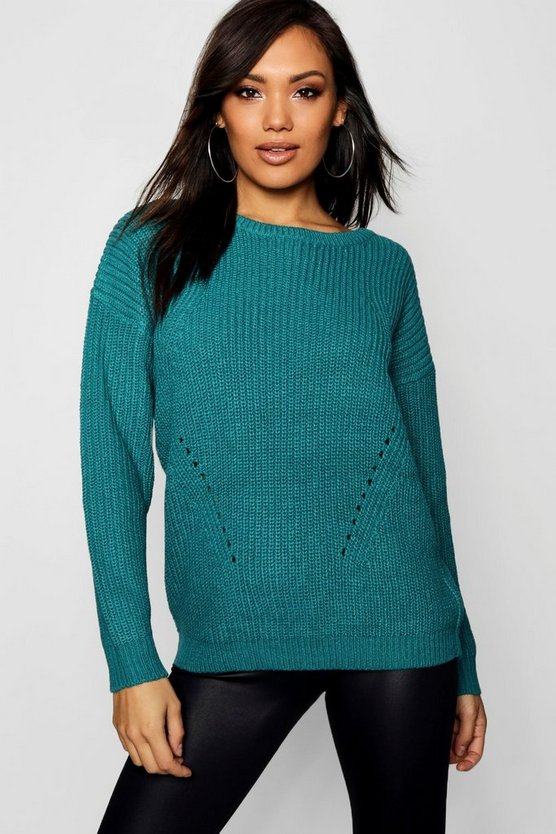 Chunky Sweater With Rib Transfers