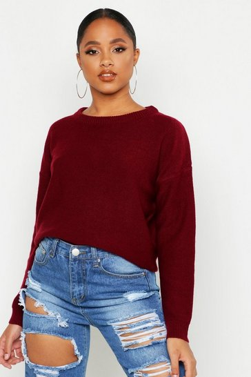Womens Berry Boxy Scoop Neck Jumper