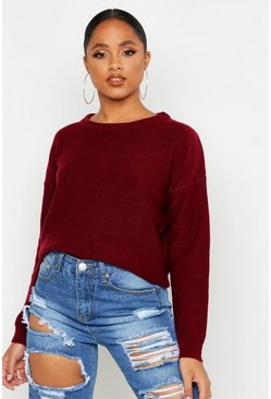 Womens Berry Boxy Scoop Neck Sweater