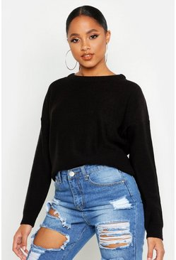 Black Boxy Scoop Neck Sweater