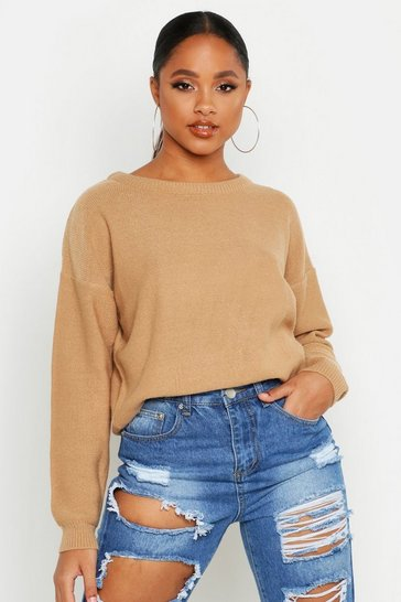Womens Camel Boxy Scoop Neck Jumper