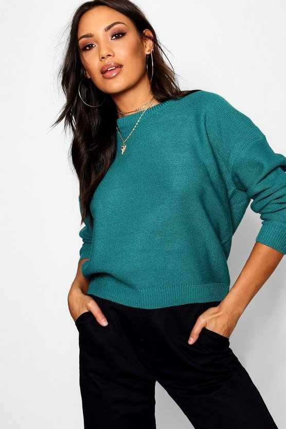 Womens Teal Boxy Scoop Neck Jumper