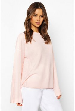 Womens Rose pink Fisherman Jumper With Flared Sleeve