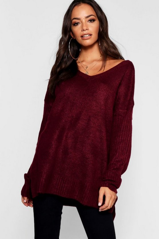Jumper With V Neck Detail Front And Back
