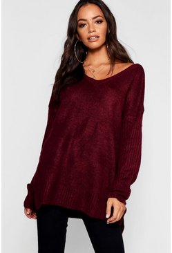 Womens Berry Jumper With V Neck Detail Front And Back