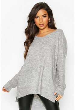 Womens Grey Jumper With V Neck Detail Front And Back