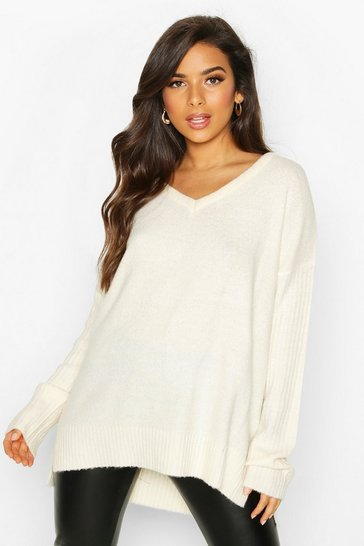 Womens Ivory Jumper With V Neck Detail Front And Back