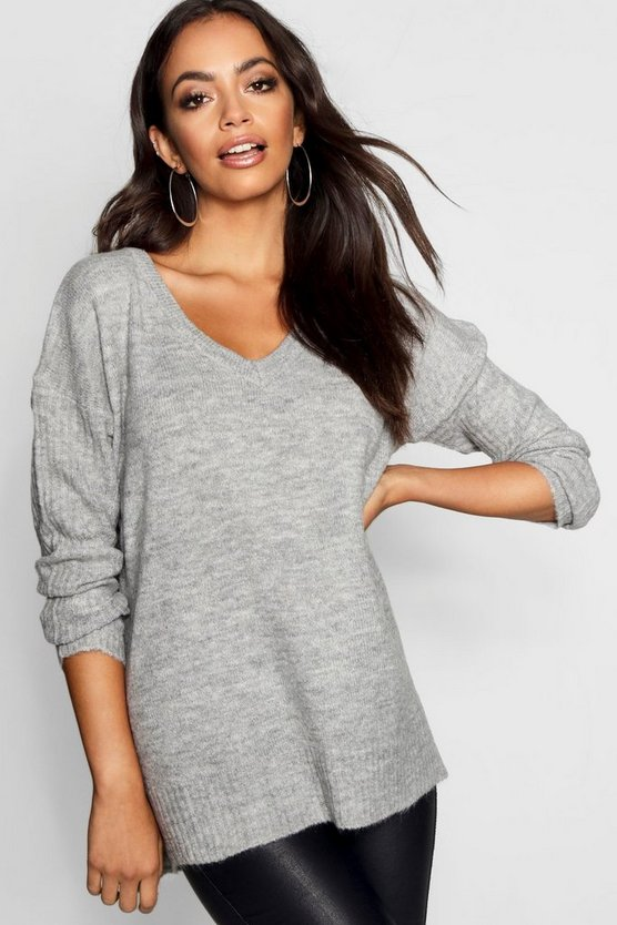 V Neck Slouch Jumper With Ribbed Sleeves
