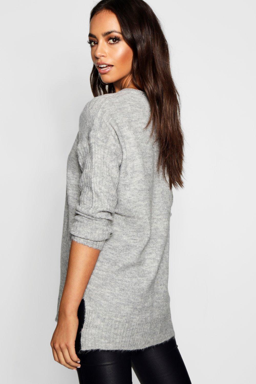 holgado en gris mangas cuello Jersey de canalé con pico y Tdcq0w