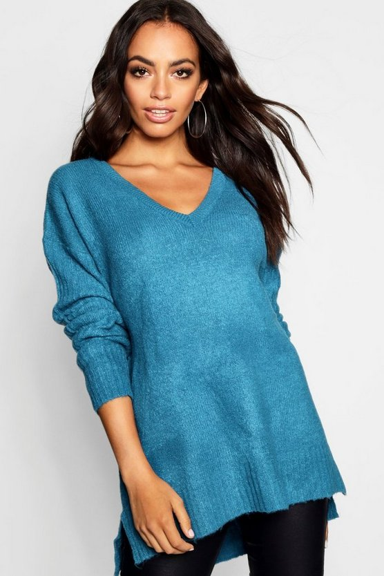 Teal V Neck Slouch Sweater With Ribbed Sleeves