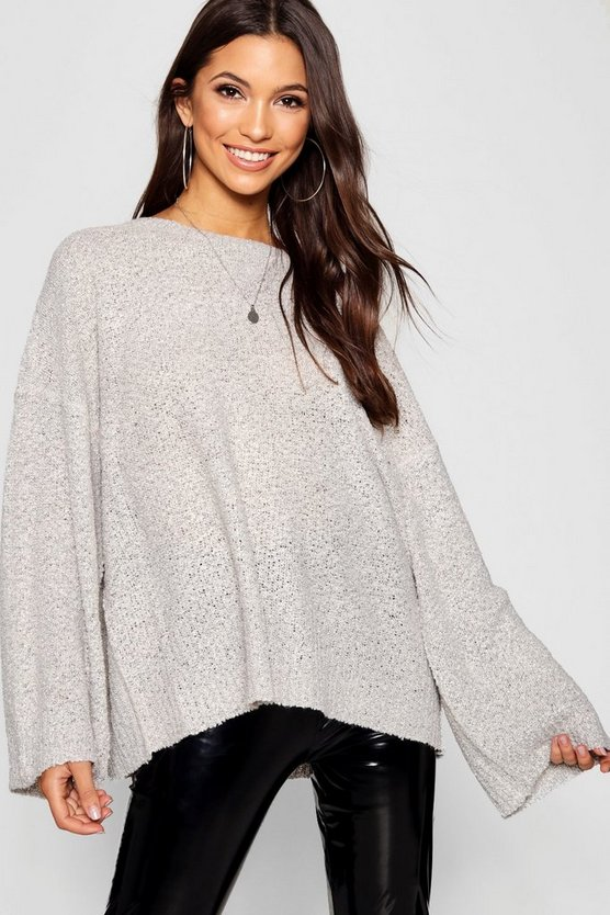 Grey Oversized Crew Sweater