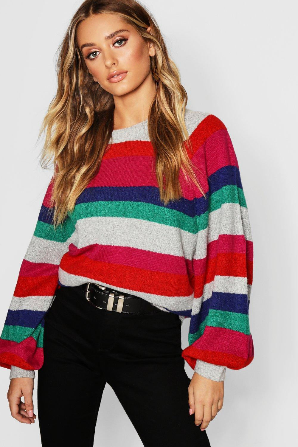 Striped Jumper With Balloon Sleeves