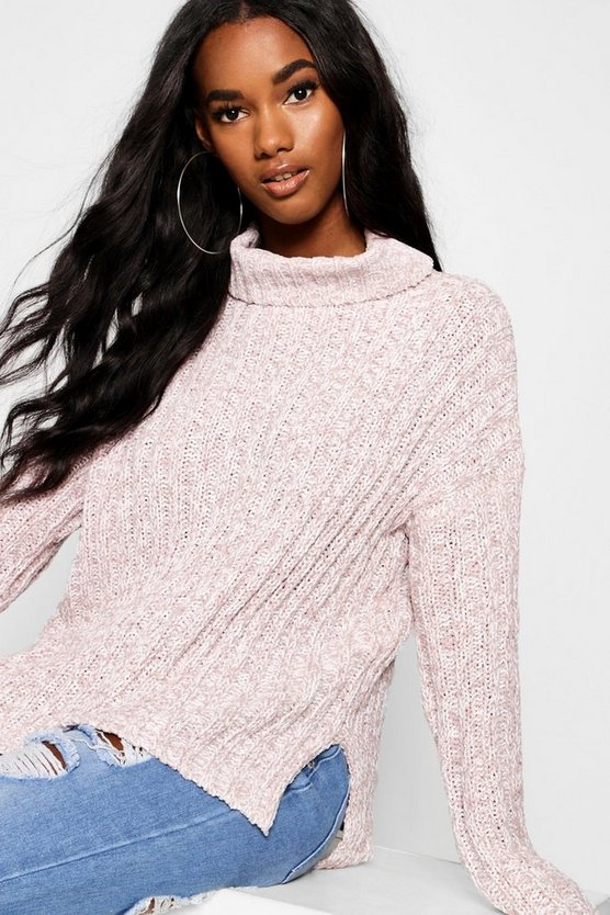 Blush Roll Neck Ribbed Loose Fit Jumper