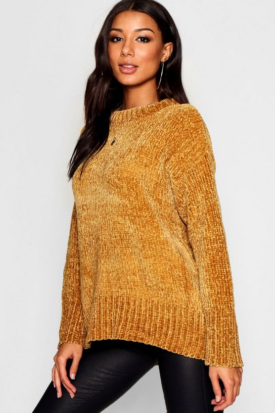 Womens Mustard Oversized Soft Chenille Jumper