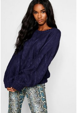 Womens Navy Cable Knit Jumper With Balloon Sleeves