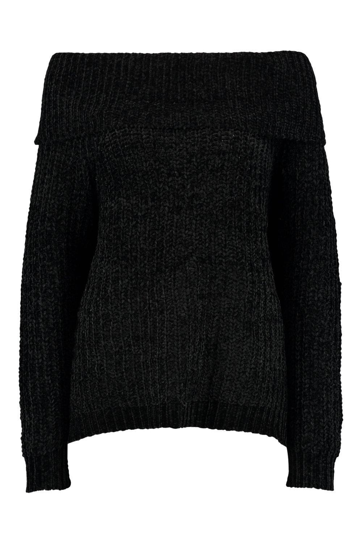 Bardot de grueso estilo de pescador punto Jersey negro w48a7qB