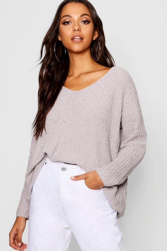 Womens Grey Loose Fit V Neck Chenille Jumper