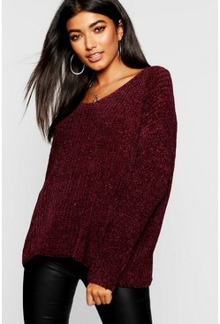 Womens Mulberry Loose Fit V Neck Chenille Jumper