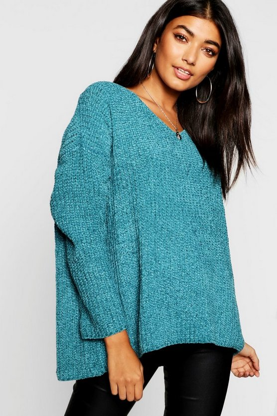 Loose Fit V Neck Chenille Jumper