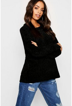 Womens Black Chenille Jumper