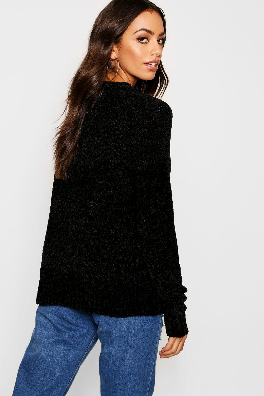 Jersey chenilla negro negro Jersey de chenilla de 81TwBr48q