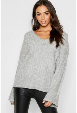 Womens Loose Fit V Neck Cable Jumper