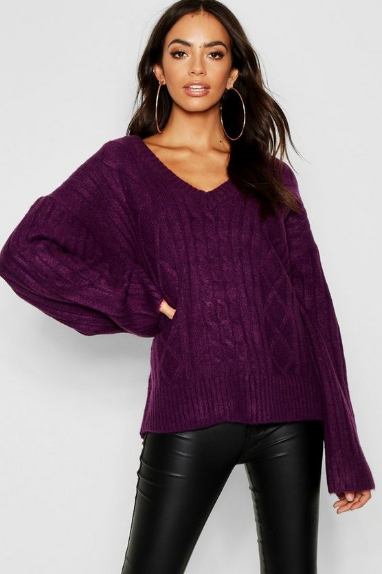 Loose Fit V Neck Cable Jumper