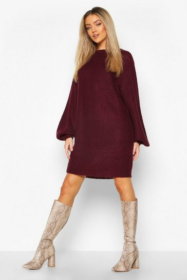 Berry Crew Neck Fisherman Rib Jumper Dress