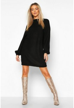 Womens Black Crew Neck Fisherman Rib Jumper Dress