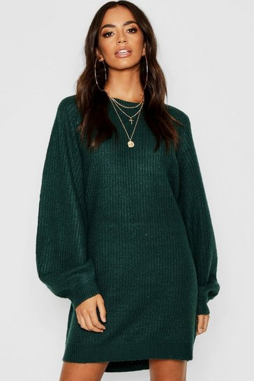 Womens Dark green Crew Neck Fisherman Rib Jumper Dress