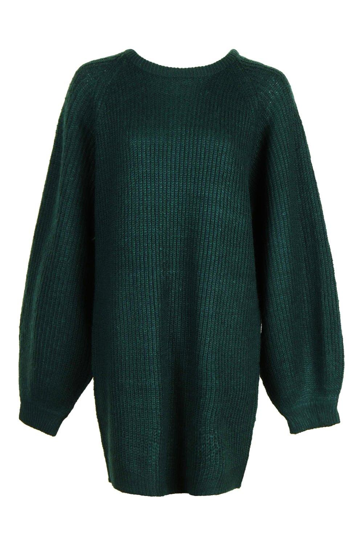 canalé redondo en oscuro cuello verde pescador con Vestido grueso jersey de xSq4ZF
