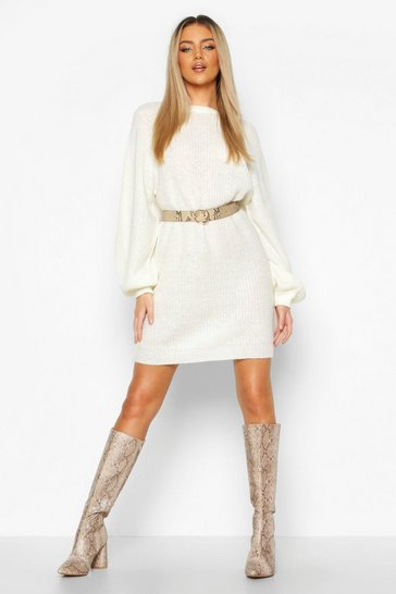 Womens Ivory Crew Neck Fisherman Rib Jumper Dress